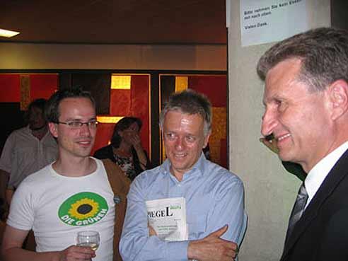 25-jähriges Landtags-Jubiläum der Grünen mit Fritz Kuhn und Günther Oettinger (2005)