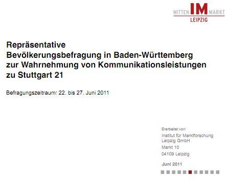 Umfrage zu Stuttgart 21 vom Institut für Marktforschung, Leipzig (Mitten im Markt)