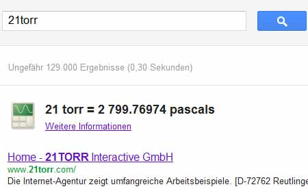 21 torr in Pascal (Google-Screenshot)