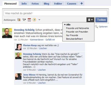Facebook-Statusmeldungen privat bzw. nur für einzelne Listen sichtbar machen (Screenshot 1)