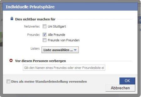 Facebook-Statusmeldungen privat bzw. nur für einzelne Listen sichtbar machen (Screenshot 2)