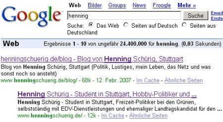 Henning auf Platz 1 und 2 bei Google (Suchwort: henning)