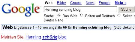 Henning Schüring? Meinten Sie Henning Schürig? (Google-Screenshot)