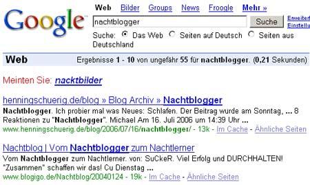 Google: Nachtblogger