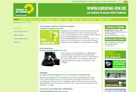 Screenshot vom Relaunch gruene-bw.de (Bündnis 90/Die Grünen Baden-Württemberg)