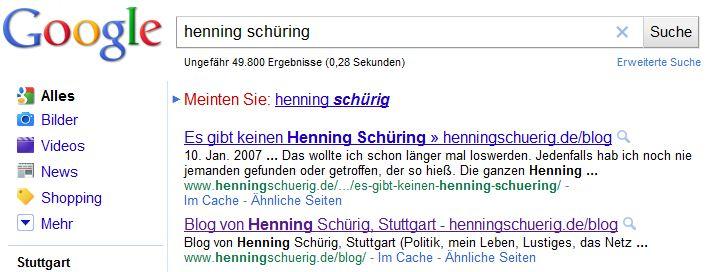 Henning Schüring bei Google