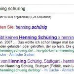 Google fragt: Meinten Sie Henning Schürig?