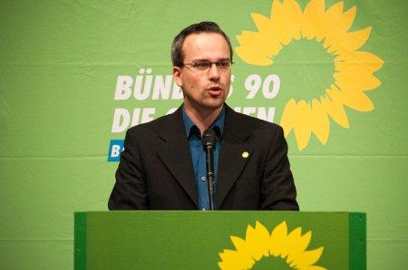 Henning Schürig beim Landesparteitag in Biberach 2009 bei seiner Bewerbungsrede für den Landesvorstand (Foto: Florian Freundt)