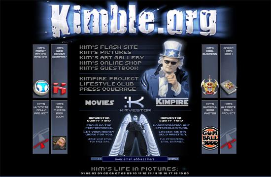 Screenshot kimble.org (Kim Schmitz) - Ende der 90er
