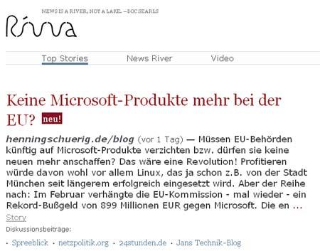 Mein Microsoft-/EU-Beitrag bei rivva ganz oben