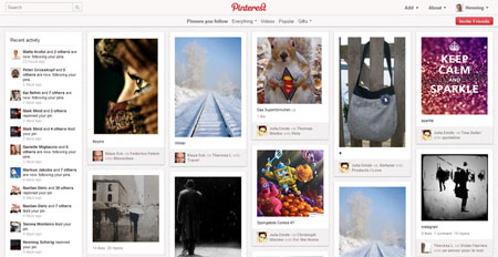 Pinterest-Startseite (Screenshot)