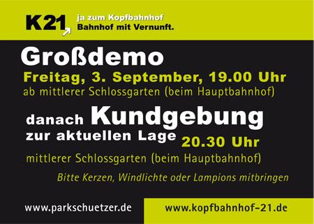 Stuttgart 21: Demo am 03.09.2010