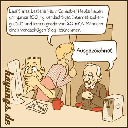 Wolfgang Schäuble und seine Internet-Kompetenz (Karikatur von Christian Hayungs)