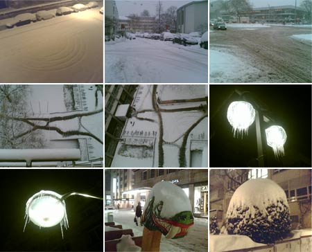 Schnee Januar 2007 in Stuttgart (Collage)