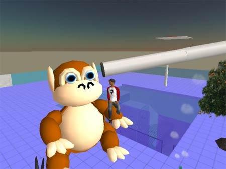 Second Life: Affe auf dem Dach vom NETFORMIC-Gebäude (1)