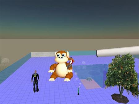 Second Life: Affe auf dem Dach vom NETFORMIC-Gebäude (2)