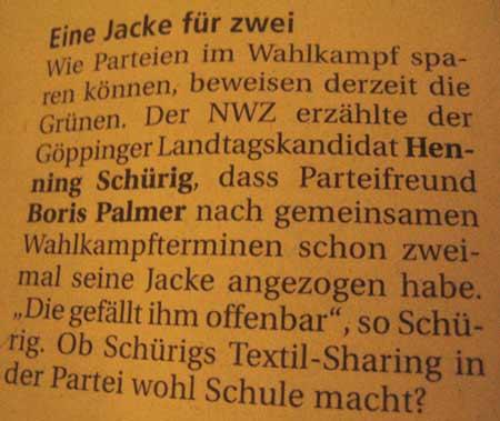 NWZ Göppingen: Textilsharing - Boris Palmer und Henning Schürig (Grüne)
