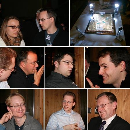 4. Webmontag, HdM Stuttgart (Collage) - Judith Böhm, Henning Schürig, Fußballkuchen, Oliver Gassner, Jan Theofel, Kai Nehm, Philipp Lenssen, Patrick Schnabel und Heiner Wittmann