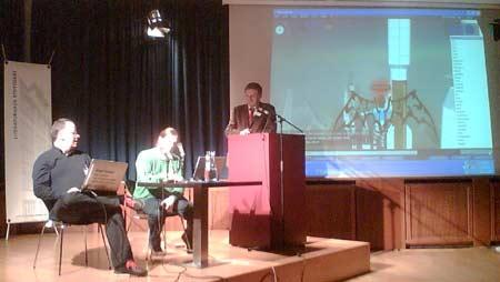 5. Webmontag in Stuttgart: Oliver Gassner, Alvar Freude, Heiner Wittmann (v.l.n.r.) und Second Life